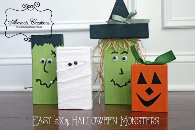 Easy 2x4 Halloween Monsters Tutorial for DIY Wooden Halloween Craft featureing Frankenstein Witch Pumpkin and Mummy