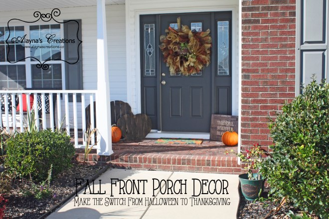 Fall front porch decor make the switch from Halloween to Thanksgiving