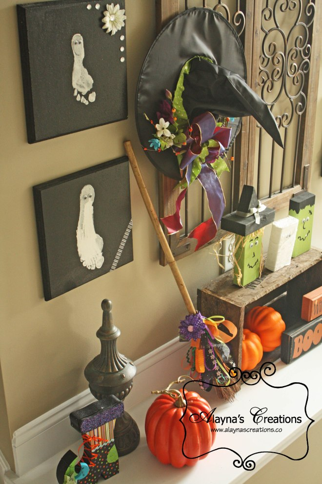 Fall Halloween Mantle Decorations decorative ledge with witch hat witch broom footprint ghosts 2x4 halloween monsters and more