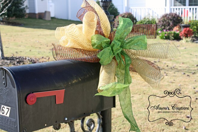Fall Mailbox Swag using curly deco mesh and glitter ribbon in gold green and bronze