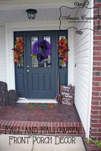 Halloween Front Porch Decor includes pallet pumpkins deco mesh wreaths and swags and wicked witch wooden sign with broomstick Make the switch to Thanksgiving easy with double sided sign