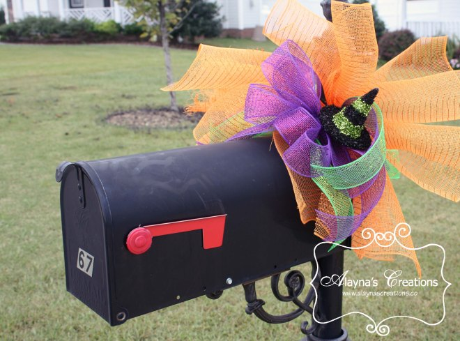 Halloween Mailbox Swag Witches Hat with glitter and deco mesh