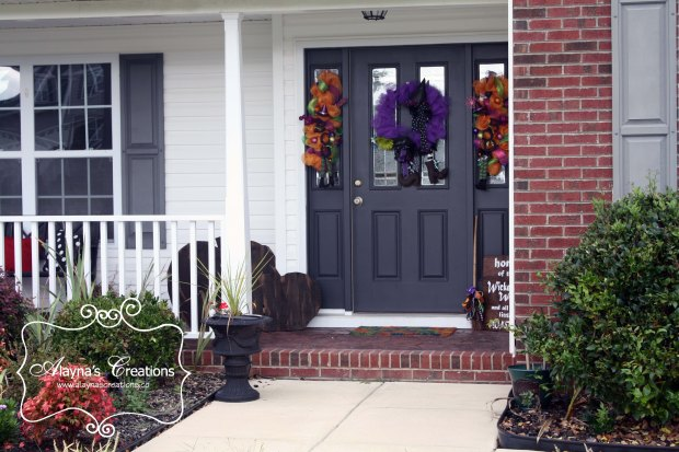 Halloween Witch Front Porch Decorations includes deco mesh wreath and swag pallet pumpkins wooden sign and witch broom