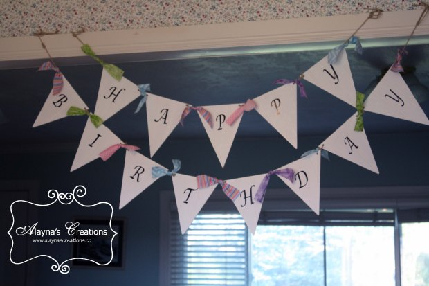 Happy Birthday Beadboard Pennant Banner customizable for any party theme