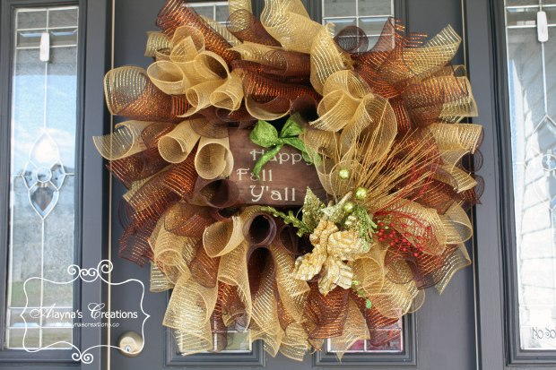 Happy Fall Y all Curly Deco Mesh Wreath in glitter Gold brown and bronze