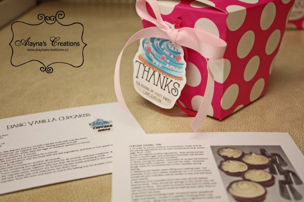 Party Favors for Cupcake Wars Birthday Party included basic cupcake recipe and tip sheet in addition to take home box for their creations and an apron