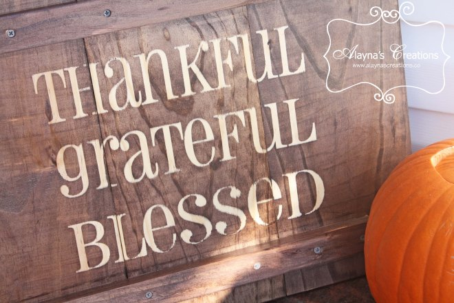 Thankful Grateful Blessed Wooden Front Porch Sign for Thanksgiving Decorations