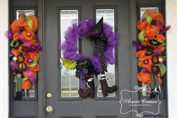 Witch Wreath and Boo Swags Front door wreaths for Halloween with deco mesh witches boots and witches hats in glittery fun fall colors