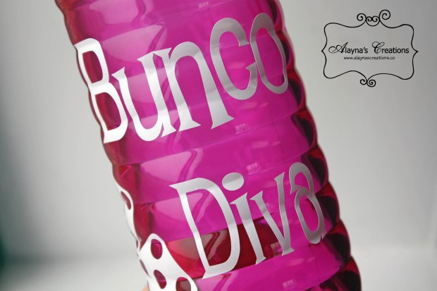 Bunco Diva Embellished Water Bottle DIY gift