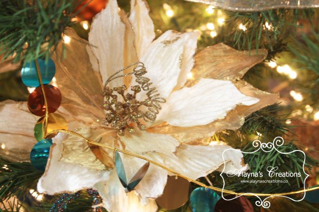 Christmas Tree Decorations in Teal and gold using a lot of silk flowers and glitzy ornaments