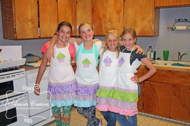 Cupcake Wars Birthday Party Aprons were made specially for the party with ruffles in colors and patterns that coordinated with the party theme The birthday girl helped do a lot of the sewing herself