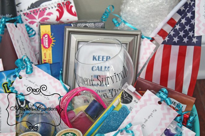 Deployment Survival Kit gift basket for military wife