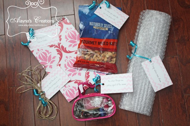 Deployment Survival Kit ideas for items to fill the gift basket and tags with clever says to explain each item