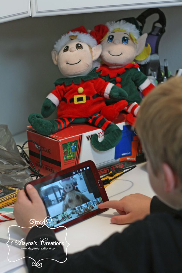 Elf on the Shelf Ideas the elves took selfies on the kids tablet and used them as the new background on the desktop