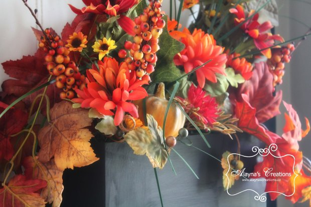 Fall leaves and flowers window box floral arrangement