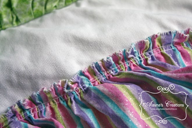 Sewing Tutorial for semi homemade ruffled apron for Cupcake Wars Birthday Party ruffle detail