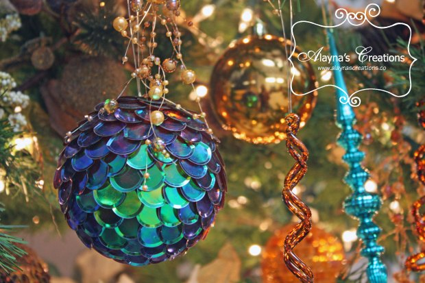 Teal copper gold and bronze Christmas Tree Decorations