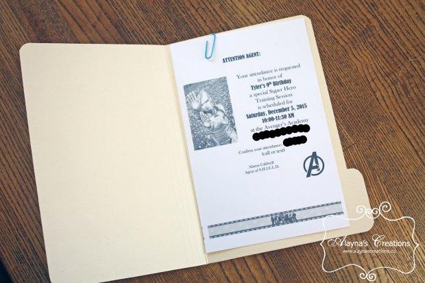 Avengers Birthday Party Invitation with Top Secret Mini File Folder Tutorial