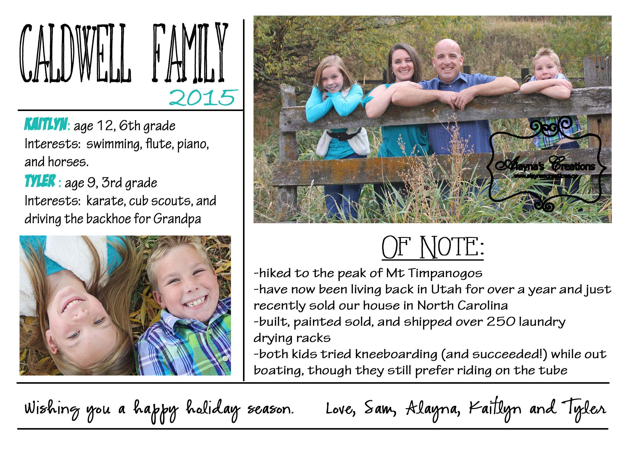 Christmas card 2015 back Yearly Update Merry Everything Happy Always Great way to share a few extra family photos and some of the highlights of our year