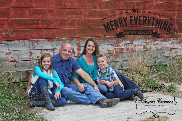 Christmas Card 2015 Family Photo in front of barn Merry Everything