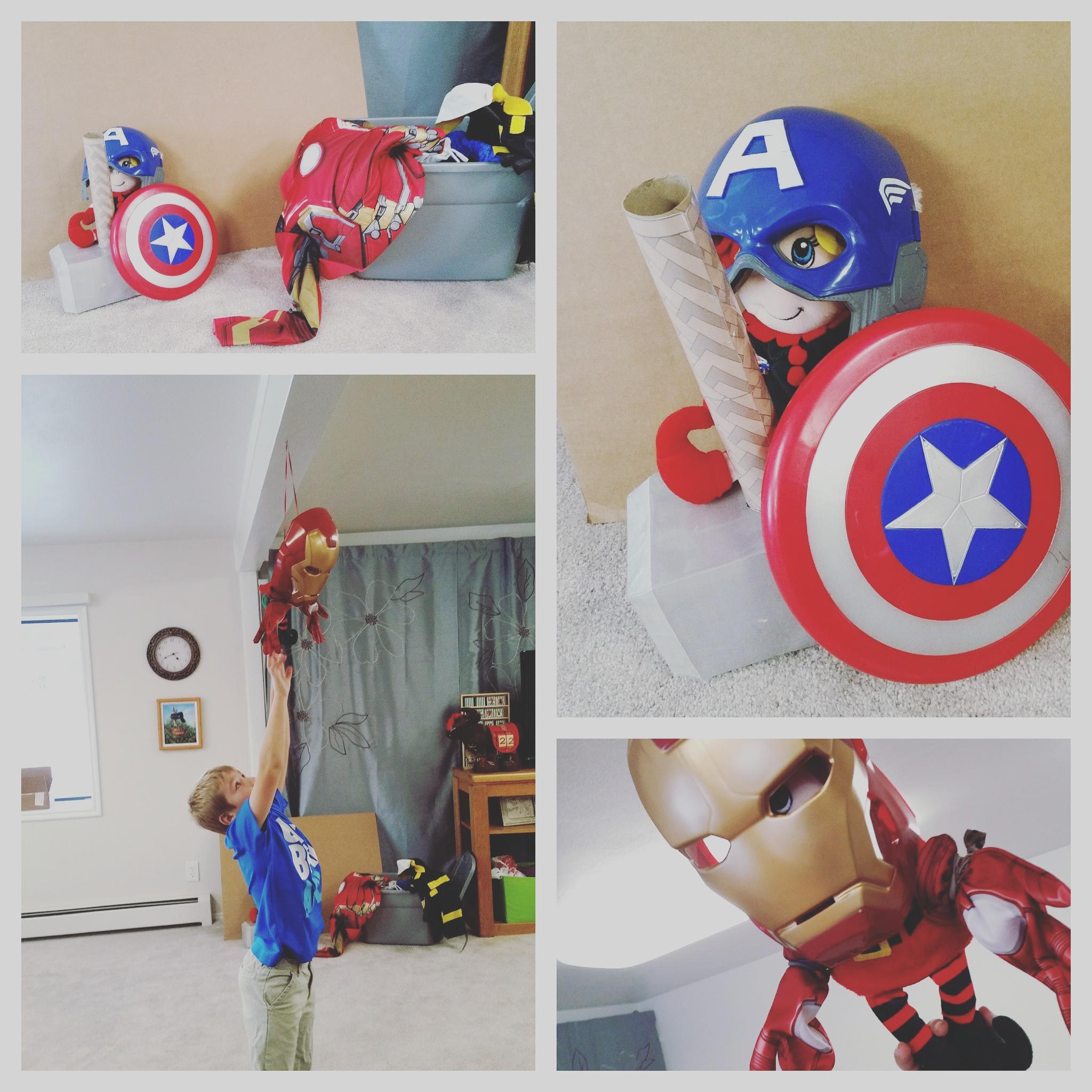 Christmas Elf Elf on the Shelf Antique Super Hero Elf dressed up as Iron Man and Captain America