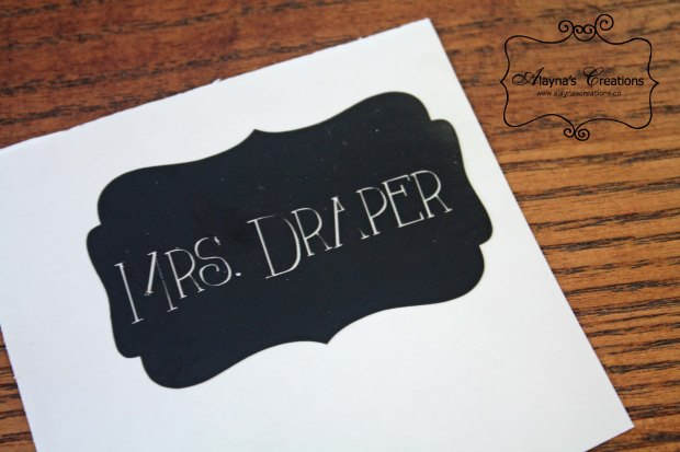 Decorative Teacher Name Labels cut with my Silhouette machine to dress up Christmas Gift