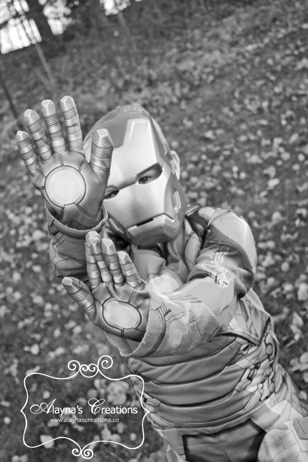 Iron Man Dress Up Photo for Avengers Birthday Party Invitation