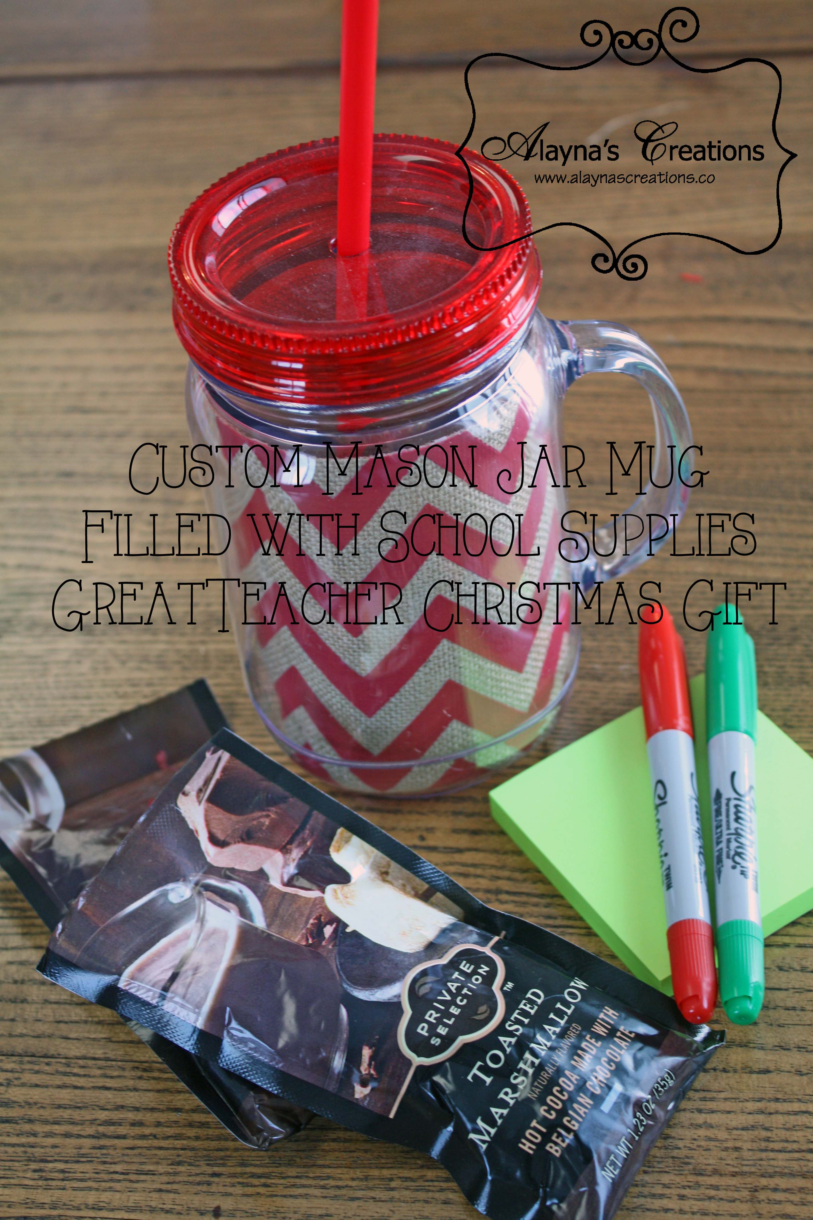 mason jar cups filled with school supplies and hot chocolate mix make a great christmas gift