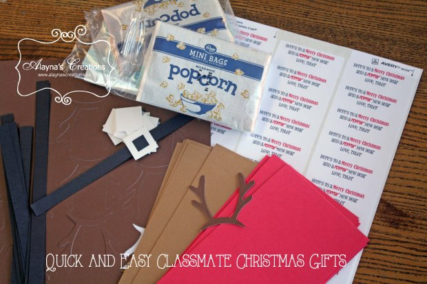 Quick and Easy Christmas Gift for Classmates using microwave popcorn and construction paper