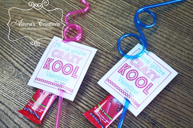 Great non candy Valentine idea for classmates A silly straw and Kool-aid I think you're crazy kool Valentine