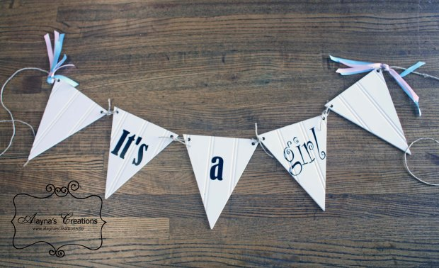 It's a girl It's a boy double sided pennant banner for gender announcment photo prop