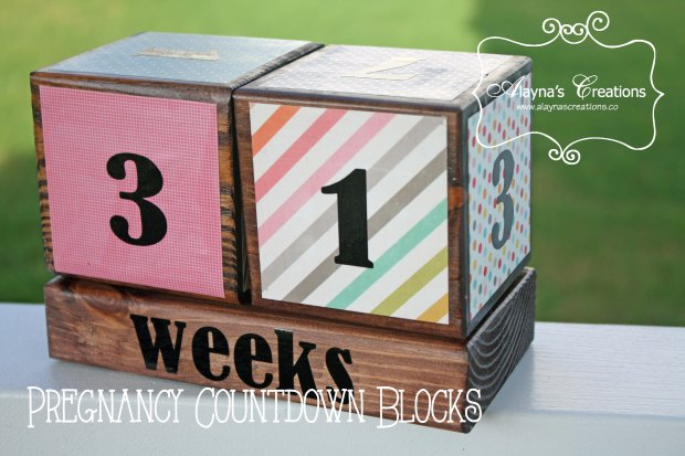 Pregnancy Countdown Blocks are a great gift for expecting parents that help make the countdown to the new baby's arrival fun and are also a great photo prop