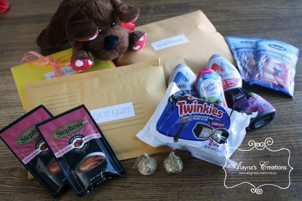 Deployment Care Package Ideas First Care Package with Open When Envelopes treats and Date Night ideas AlaynasCreations