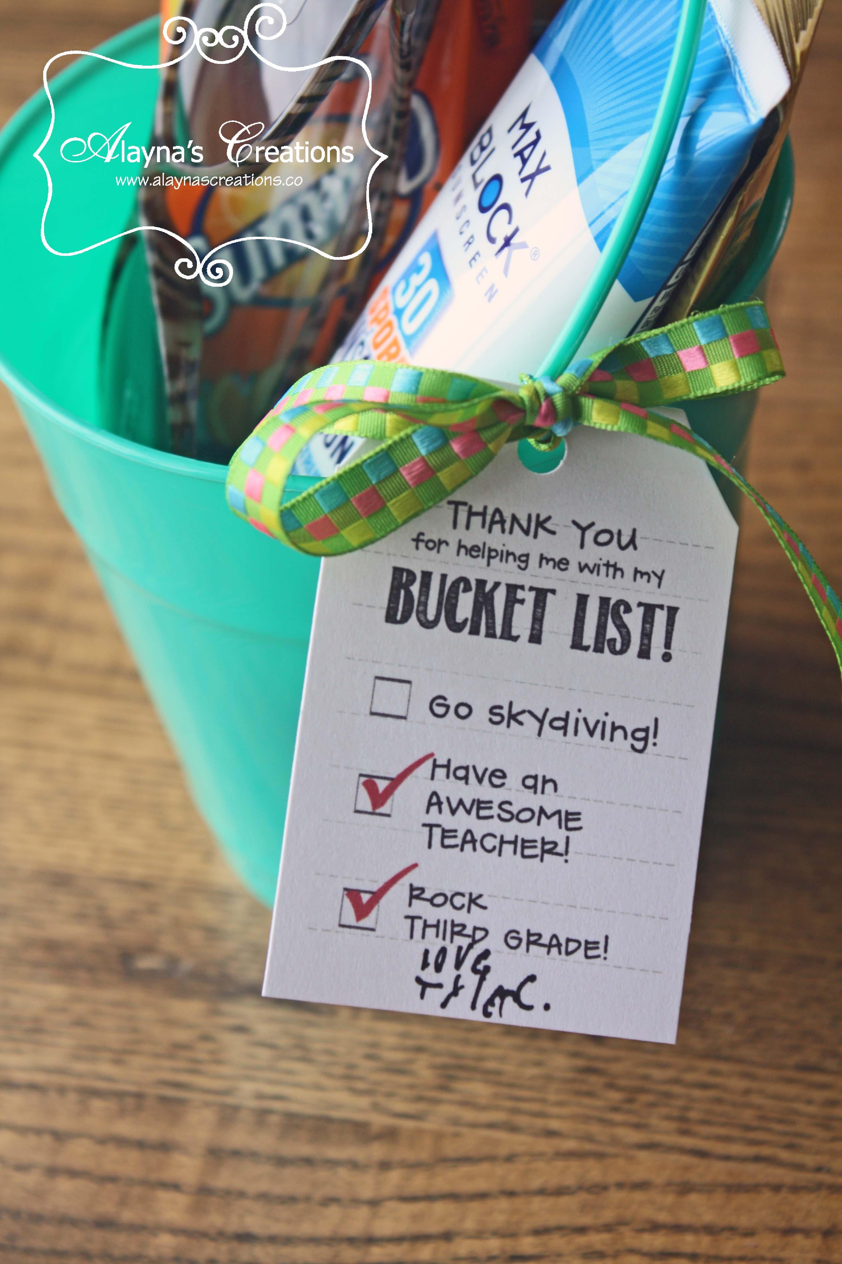 Bucket List Last Day of School Teacher Thank You Gift Idea AlaynasCreations
