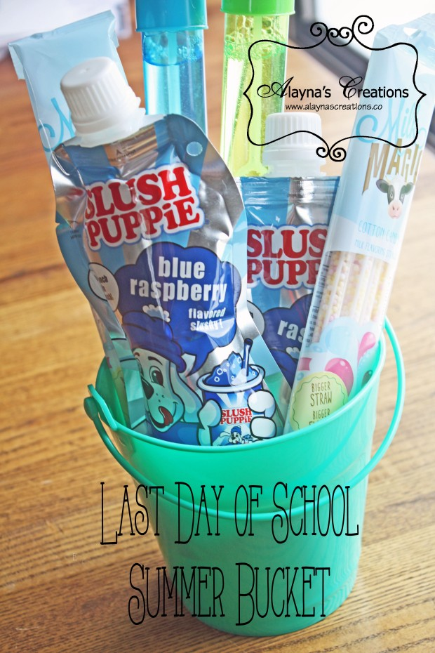 Last Day of School Summer Bucket Quick and inexpensive gift basket idea for the kids or teachers at the end of the school year AlaynasCreations