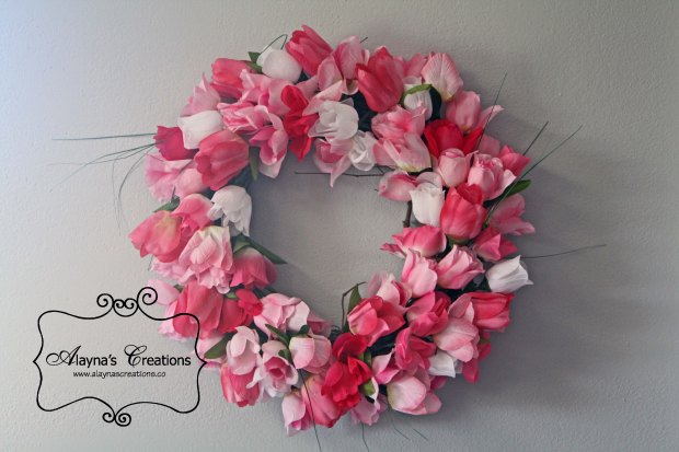 Making your own Spring Tulip Wreath is easy and inexpensive using this tutorial AlaynasCreations