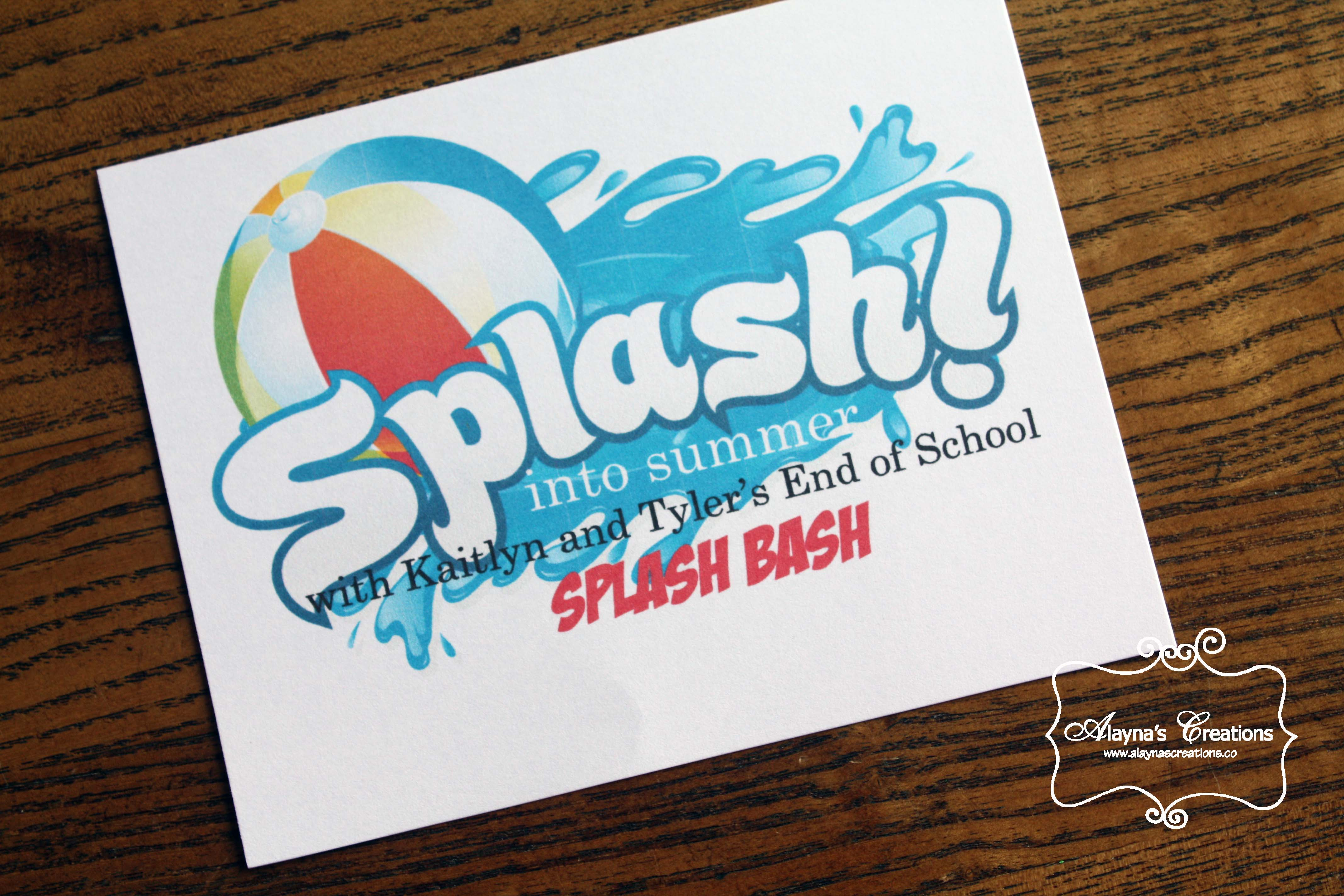 Summer Water Party Splash into Summer End of the School Year party invitation AlaynasCreations