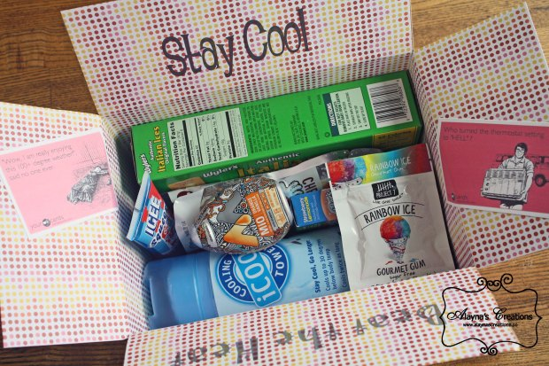 Beat the Heat Care Package Ideas for decorating and items to put in a care package to your loved one to help them stay cool this summer Military Deployment or Gift basket