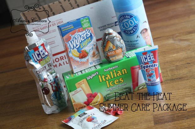 Beat the Heat Summer Care Package with lots of great ideas to fill the box to help your loved one stay cool Military deployment gift box