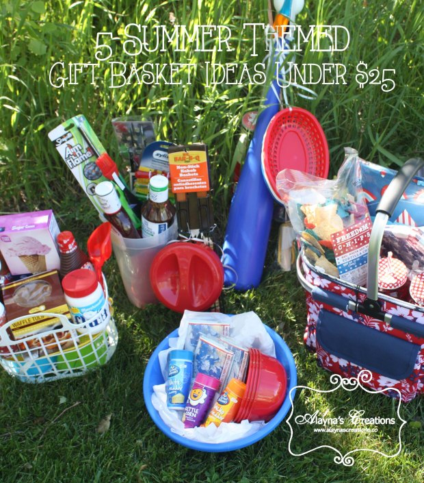 Five Summer Themed Gift Basket Ideas for Bunco Wedding gift or other special occasion