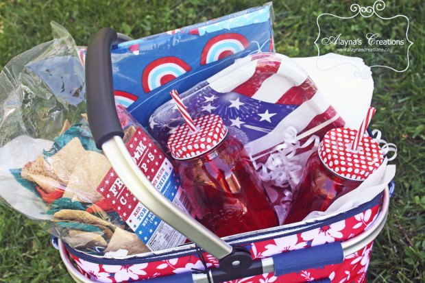 Fourth of July Patriotic Themed Gift Basket Idea Summer Picnic Gift Basket Idea for Bunco Wedding or other events