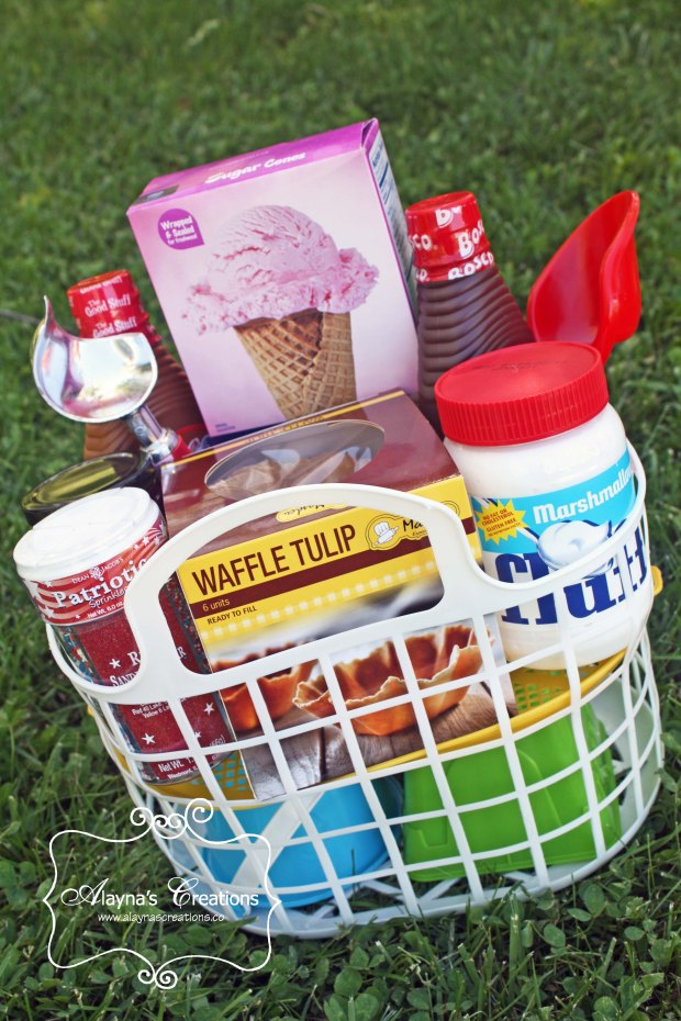 Ice Cream Themed Summer Gift Basket Idea Patriotic Red White and Blue for 4th of July