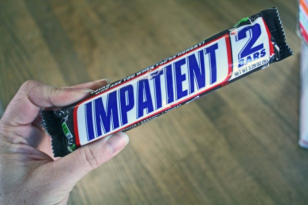 Deployment Care Package Ideas Any kind of food with writing is fun to use for care packages  I used this Snickers bar that reads impatient for a Half-way There Deployment Care Package